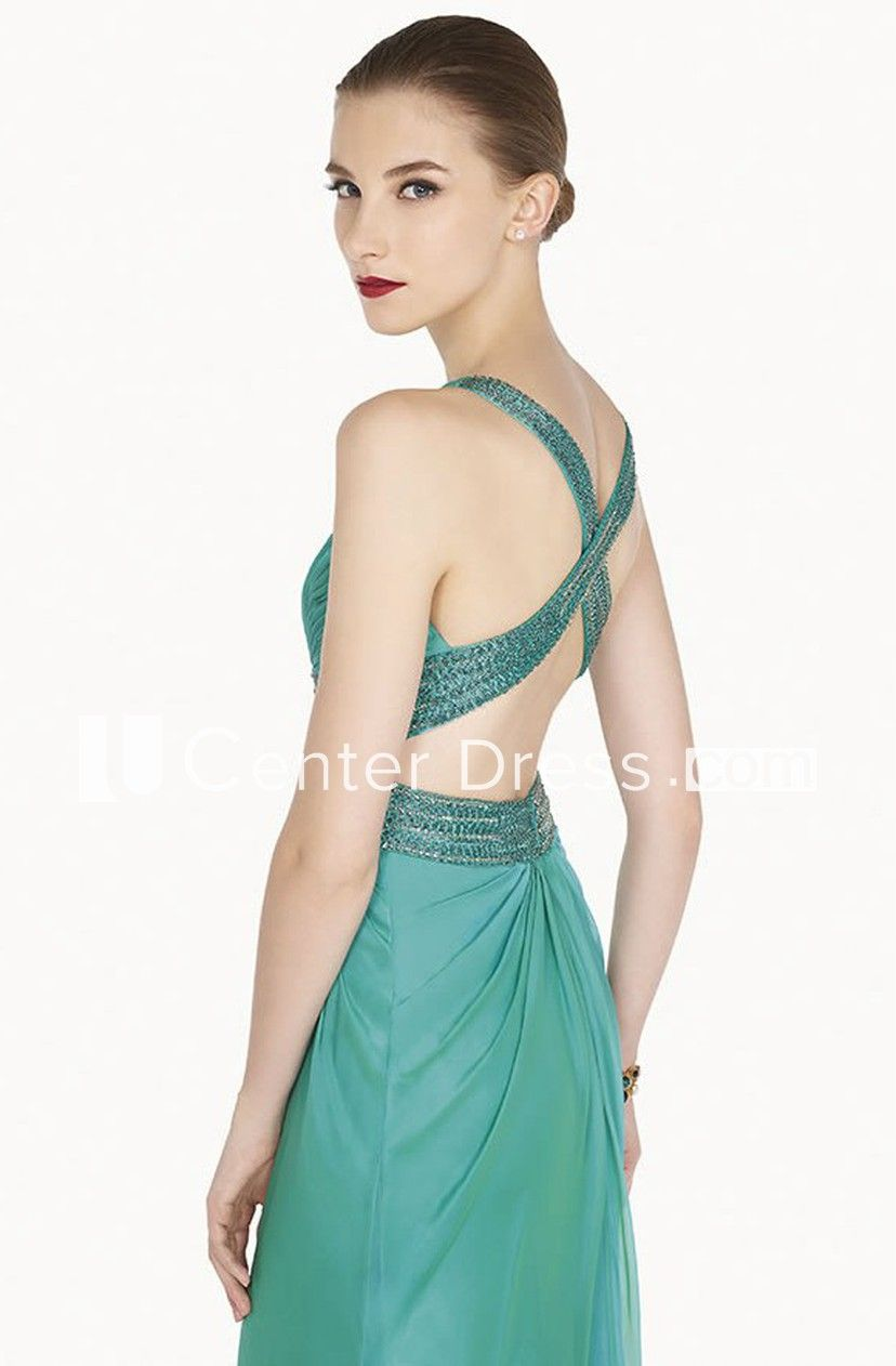 V Neck Sheath Chiffon Long Prom Dress With Back Crystal Criss Cross Straps #chiffonshorts
