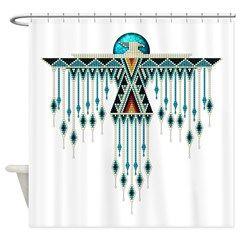 Southwest Native Style Thunderbird Shower Curtain Fabric Decor Native American Decor Log Home Decorating