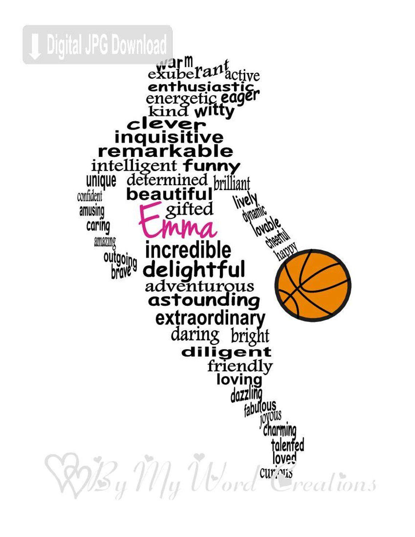 Personalized Girl Basketball Player Digital Word Art Etsy Basketball Girls Basketball Player Gifts Personalized Basketball Gifts