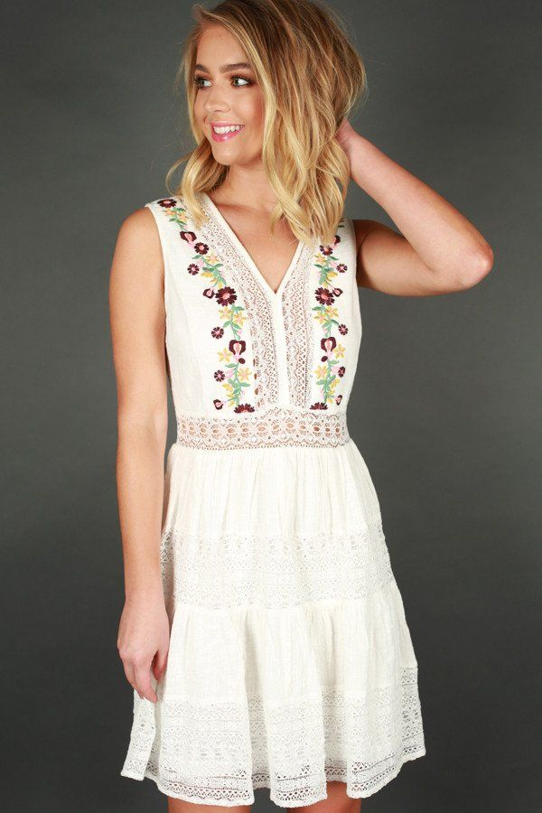 7cb7808cf10 Coast To Coast Cutie Embroidered Dress in White