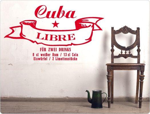 Wandtattoo Cocktail Cuba Libre Wandaufkleber Getränke für die - wandtatoos für küche