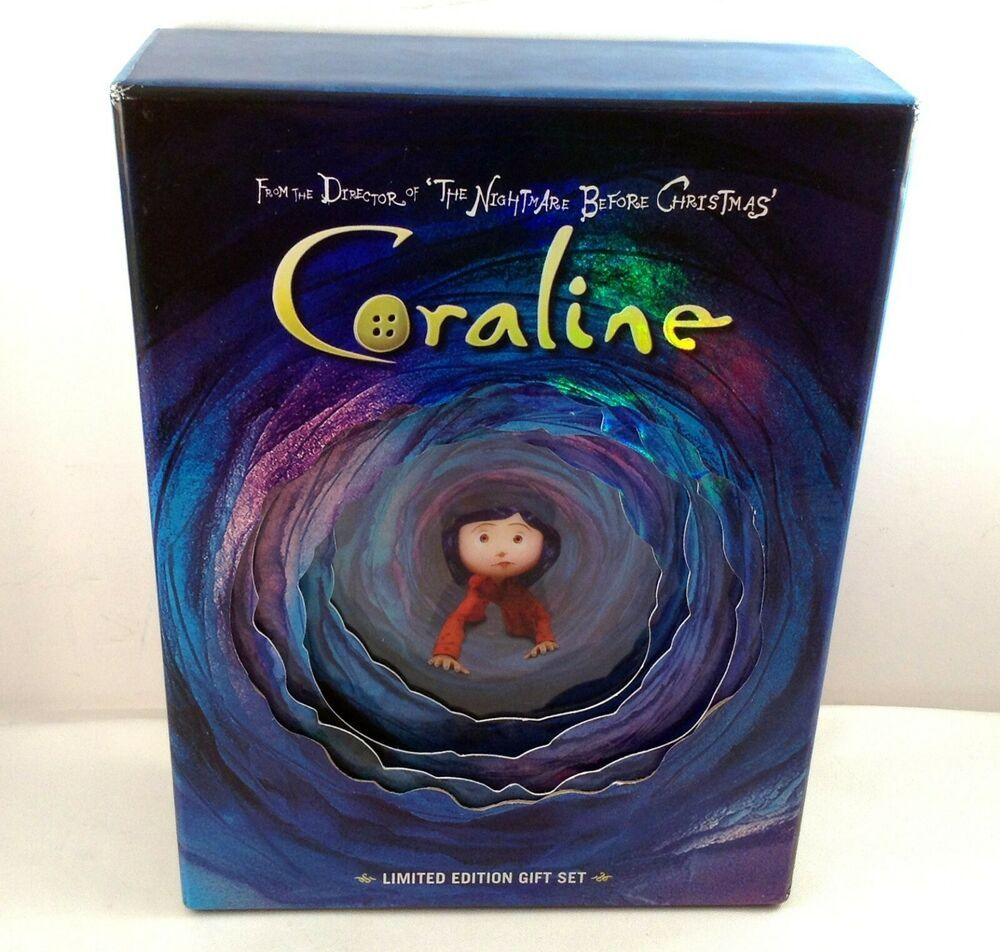 Coraline Dvd Gift Set Limited Edition Blu Ray 2 Disc Book 4 Postcards No Glasses Universalpictures In 2020 Coraline Book Coraline Elizabeth Bennet Quotes