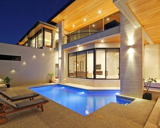 Luxurious Modern Theme for House Design Idea : Contemporary Patio With Pool Modern Coogee Residence Design