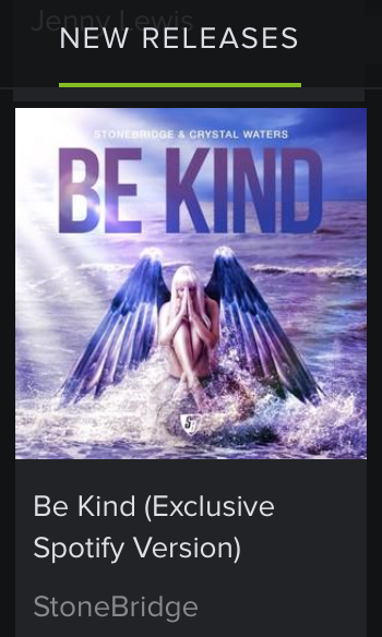 Huge weekend shout out to #Spotify from me & Crystal Waters for the feature love for 'BE KIND' - you guys rock! #stonebridge #crystalwaters #bekind #stoneyboymusic