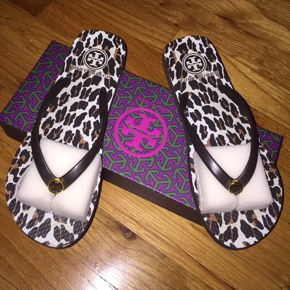 Authentic Tory Burch Leopard/Cheetah Flip Flops Worn one time. Still have original packaging. Please no low balls Tory Burch Shoes Sandals