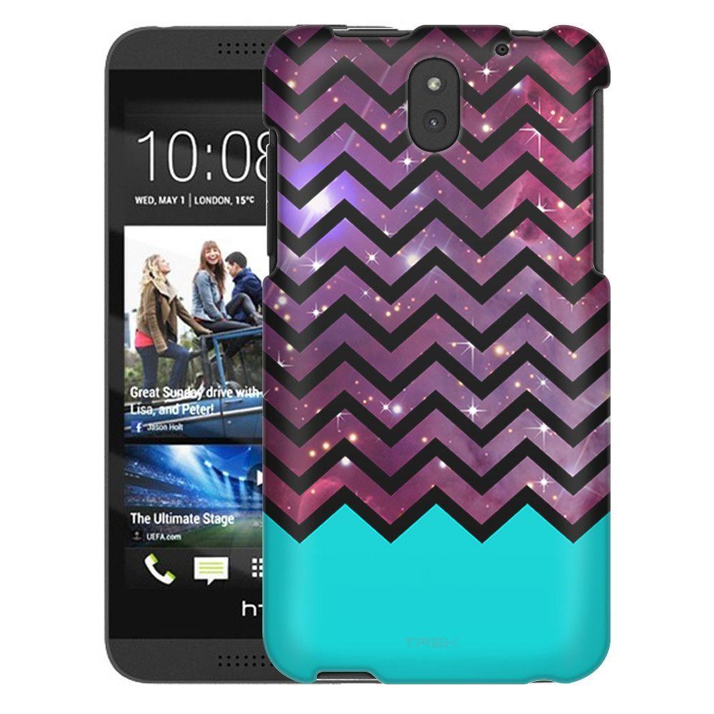 HTC Desire 610 Nebula on Chevron Black White Turquoise Ribon Slim Case