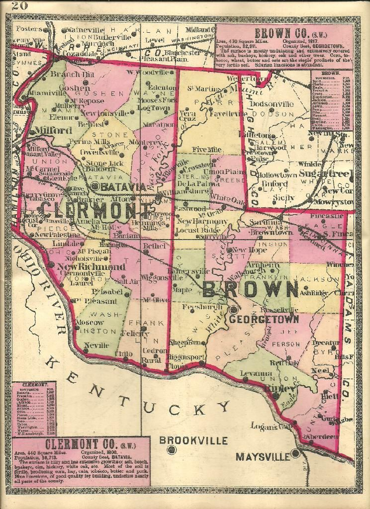Brown Clermont County 1888 Ohio Map With Some Ghost Towns