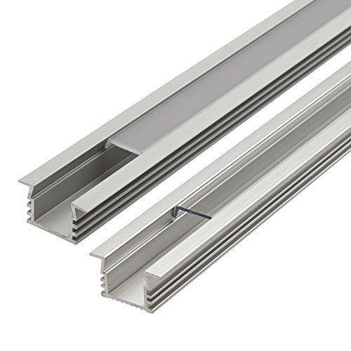 Biard profil aluminium encastr 1mx22x12mm pour ruban led couvercle givr eclairage - Profile aluminium rectangulaire ...