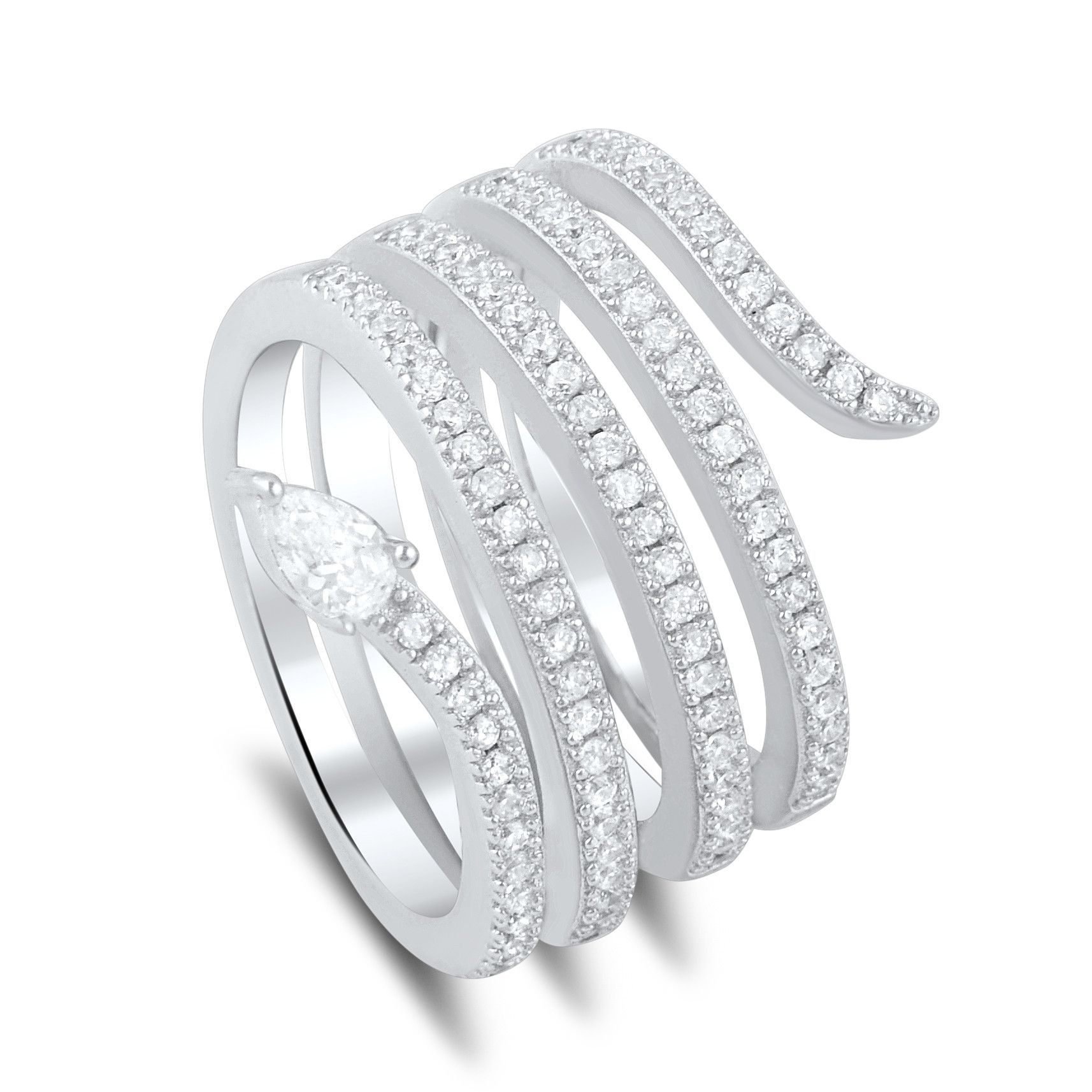 Sterling Silver Cz Wide Wrap Around Multi Row Snake Ring