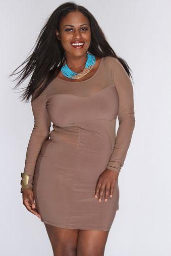 Mocha Sweetheart Mesh Cut Out Sexy Dress AMI+ by AMI Clubwear on CurvyMarket.com Plus Size