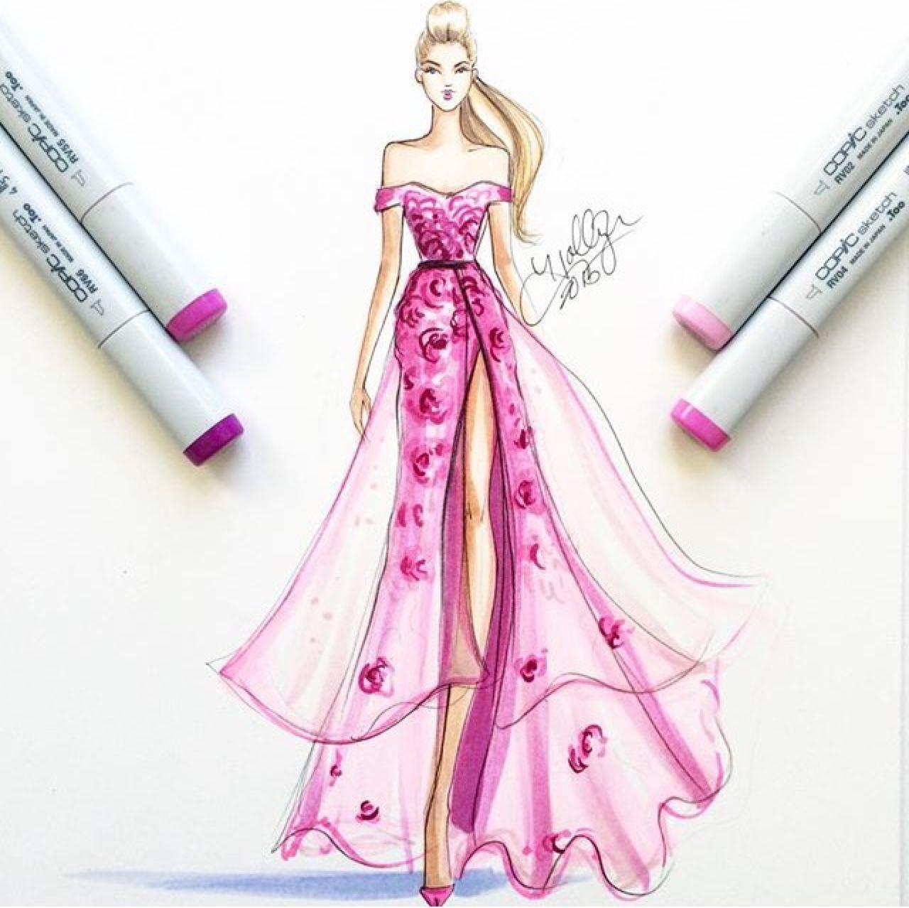 Pink dress drawing  pink dress in copics by hnicholsillustration  Fashion illustration