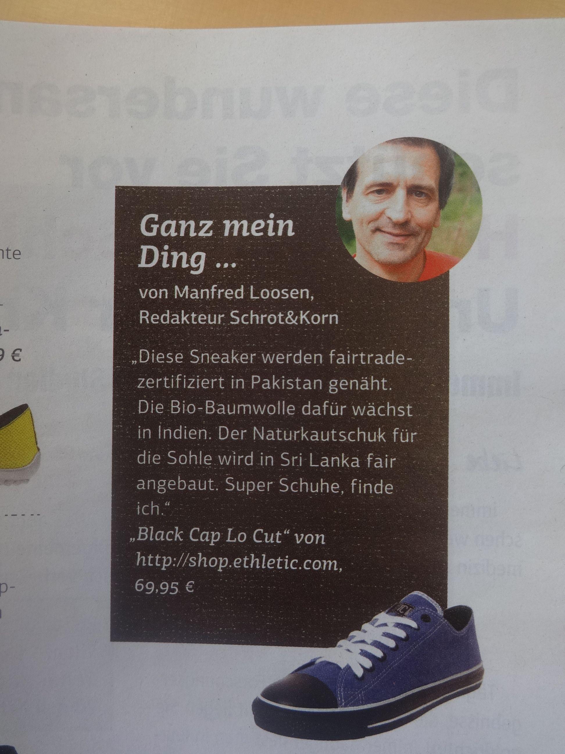 Ethletic Black Cap featured in German eco magazine