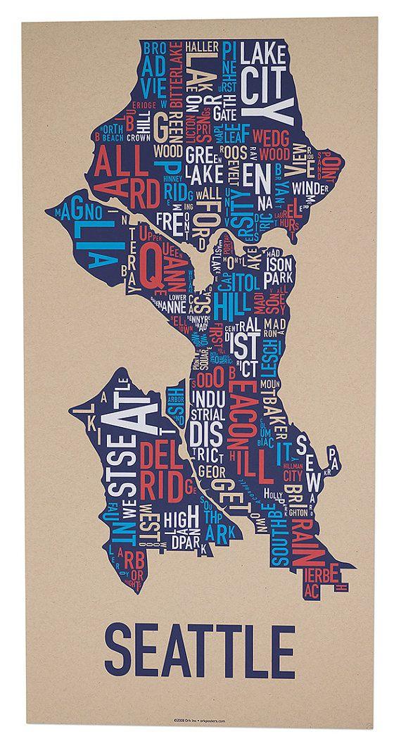SeattleNeighborhoodMapbyOrkPostersbyorkpostersonEtsy2200 Seattle Neighborhood Map Poster or Print