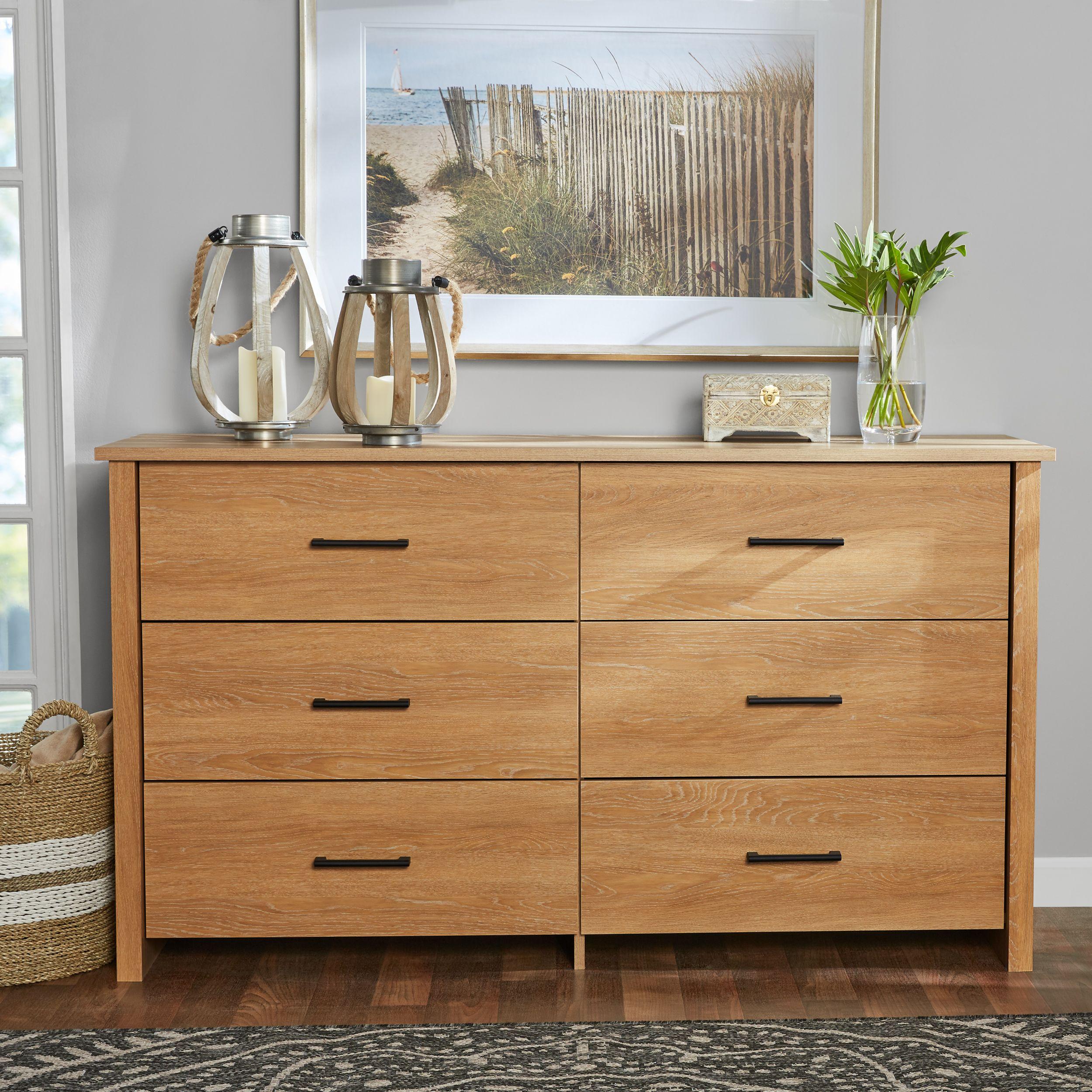 Mainstays Hillside 6 Drawer Dresser Dover Oak Finish Walmart Com Oak Bedroom Furniture Dresser Drawers 6 Drawer Dresser Dresser with lots of drawers