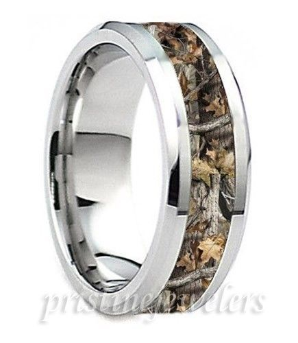 Anium Mens Camouflage Ring Silver Mossy Oak Hunter Hunting Camo Wedding Band