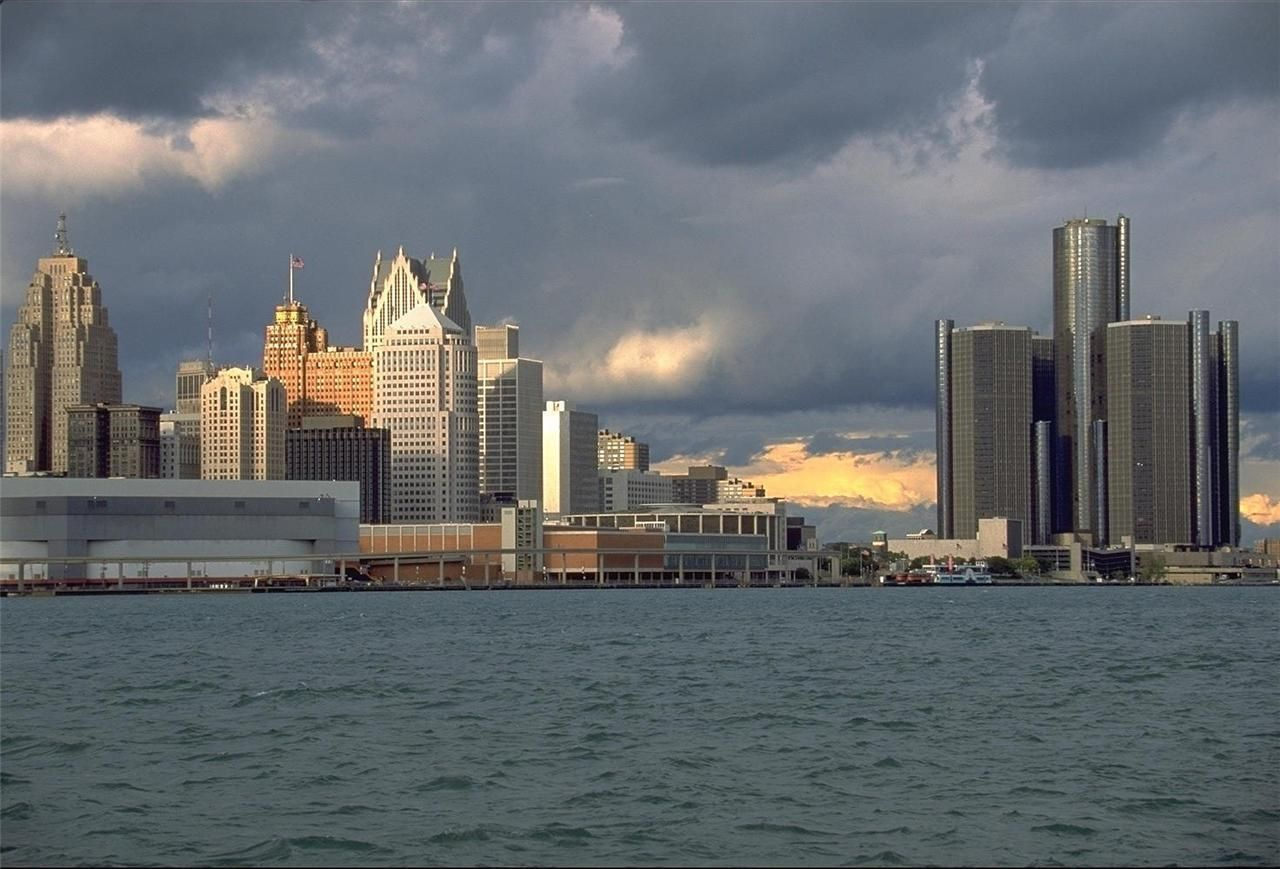 Detroit Skyline Glossy Poster Picture Photo Michigan Lions Tigers Red Wings 857 Detroit Skyline Skyline Detroit