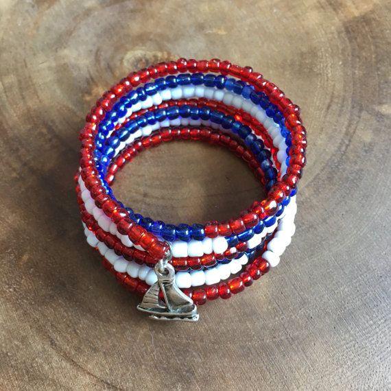 Red White Blue Bracelet Wrap Bracelet Memory by TheRedLotusDesigns