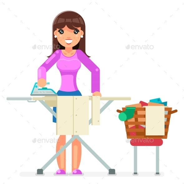 Housework Ironing Clean Laundry Clothes Clean Laundry Housework Human Logo