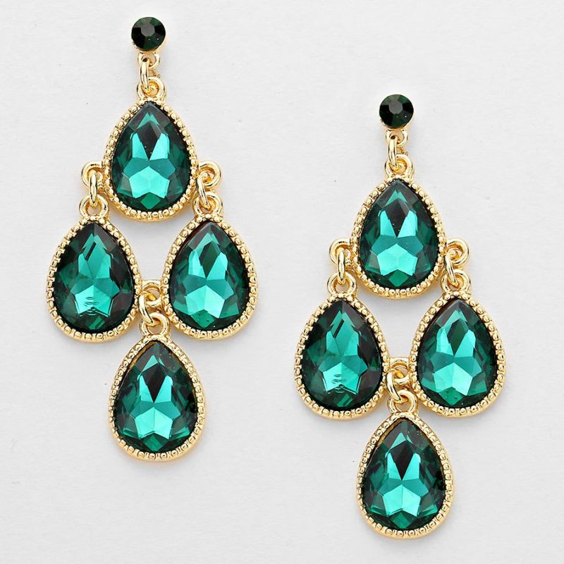 Gold And Emerald Green Colored Chandelier Earrings