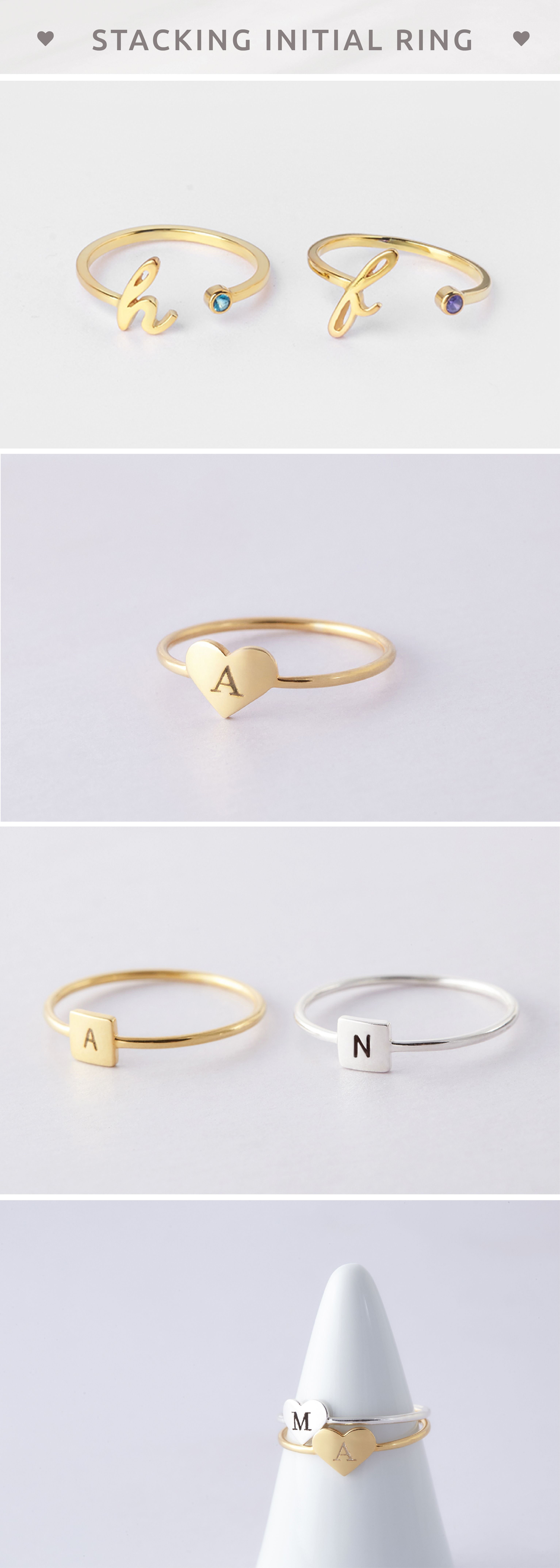 Initial Rings • Cursive Initial Ring With Birthstone • Heart Ring