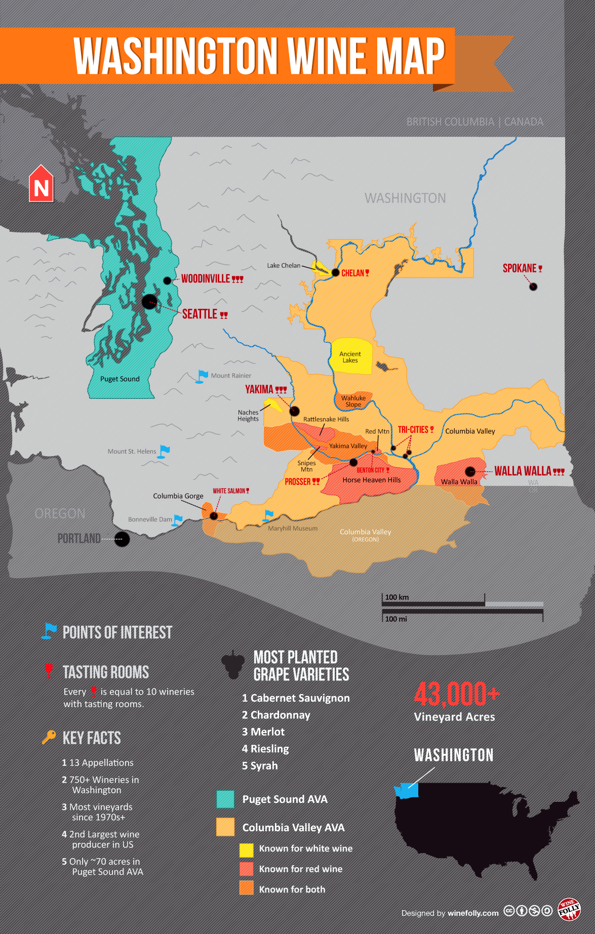 Washington Vineyards Map Get to Know Washington Wine Country (Map | the list | Wine folly