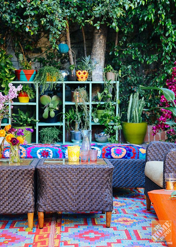 Outdoor decorating ideas a lush eclectic bohemian la patio patios bohemian patio and - Patio furniture ideas pinterest ...