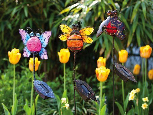 3 Assorted Solar Garden Stakes Ladybug Bee Butterfly By Outdoor Decor