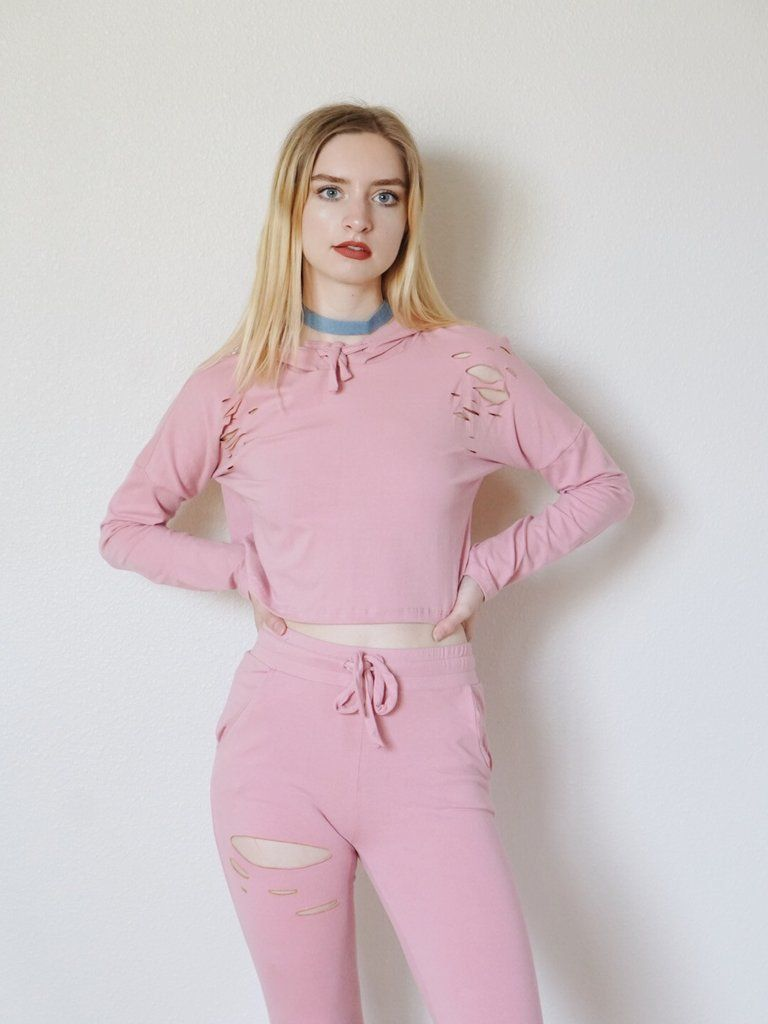 Keke Distressed 2 Piece Set (Pink)