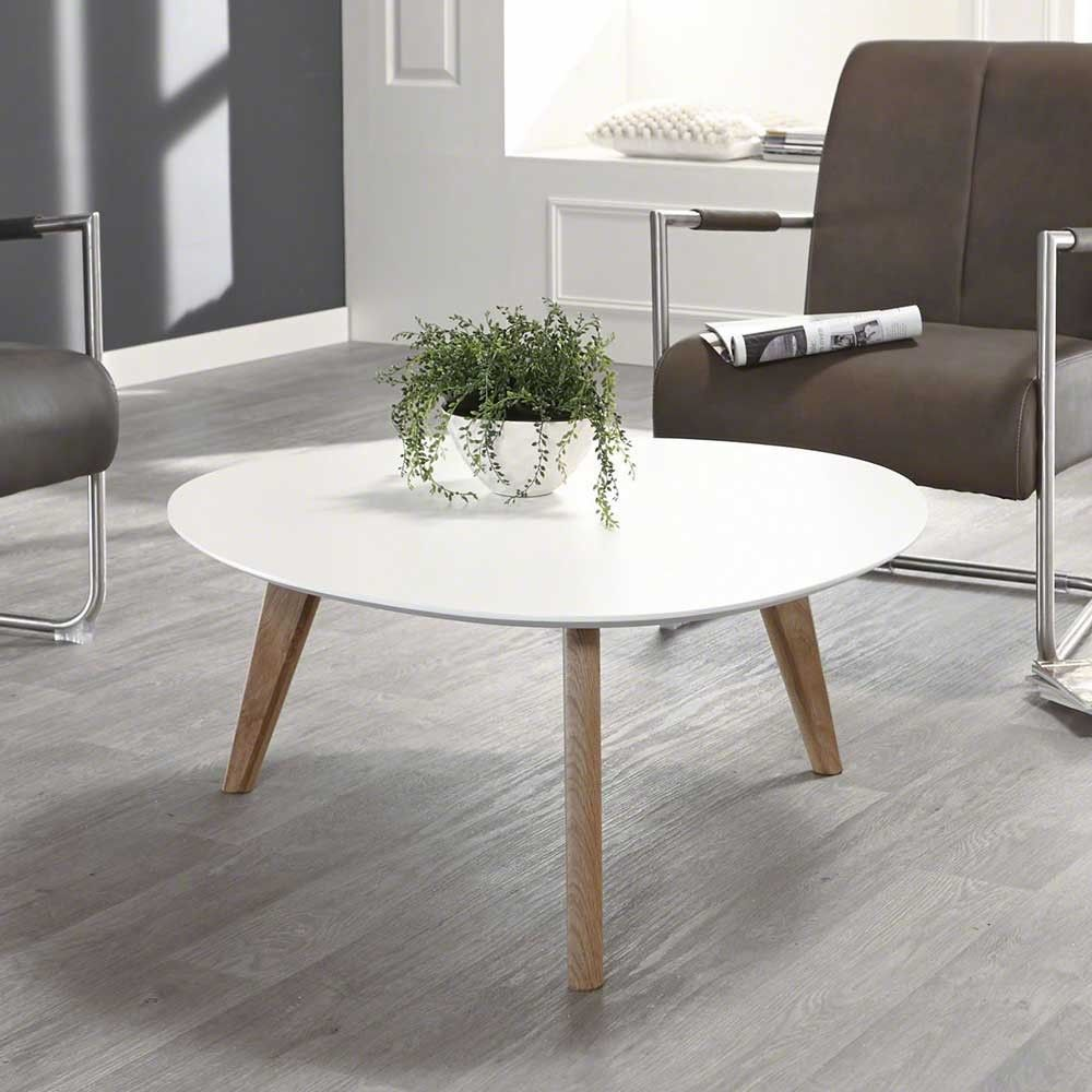 Retro Couchtisch Gimma In Weiß Eiche Rund Couchtisch Table