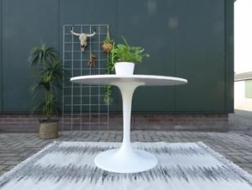 Ronde eettafel wit Ikea Docksta tafel trompetvoet