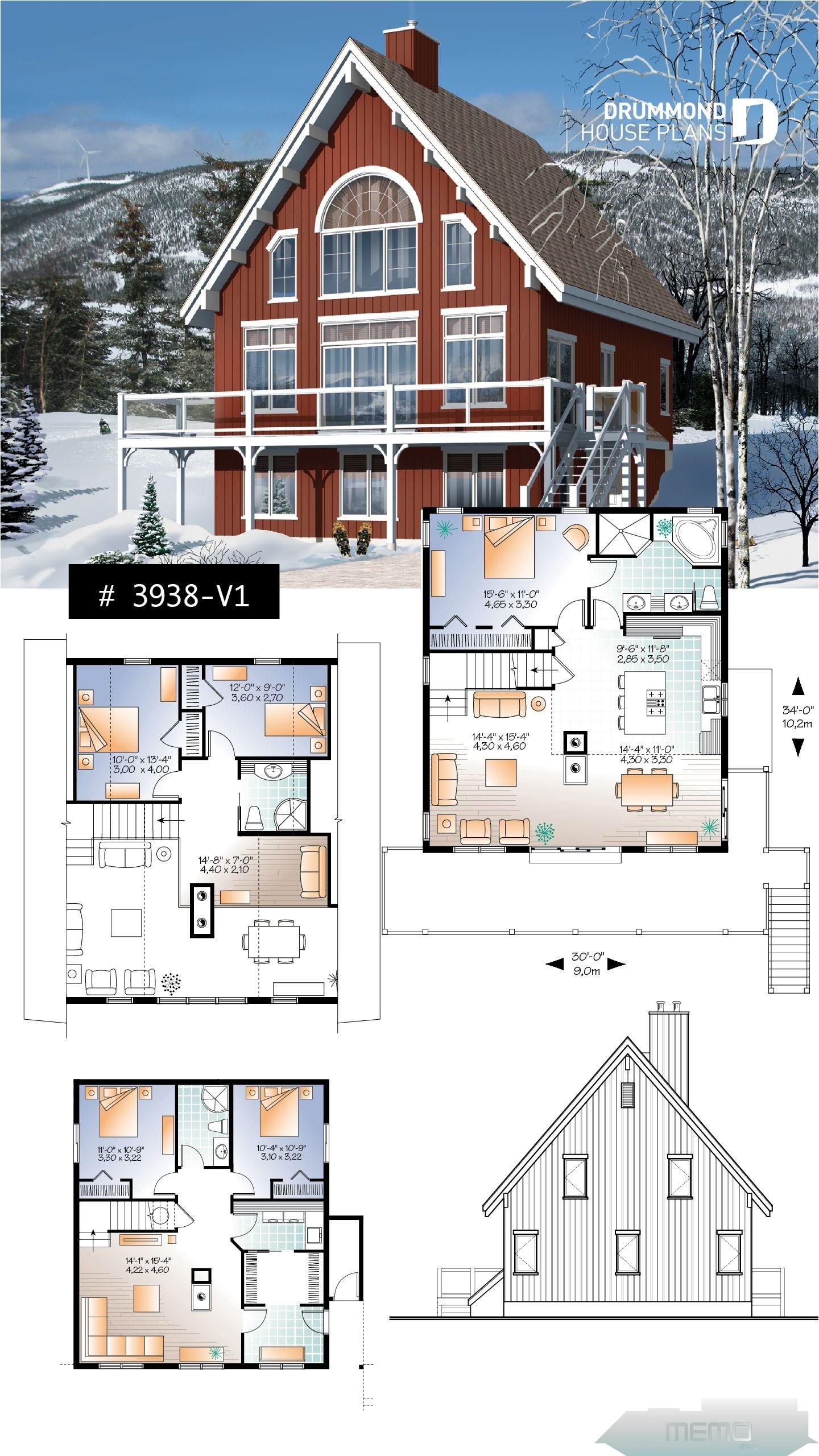 May 7 2019 5 Bedroom Rustic Chalet A Frame House Plan Open Living Dining Fireplace Mezzanine Large Te In 2020 Cottage Plan Lake House Plans A Frame House Plans