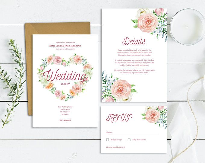 Heart Wedding Invitation Template Download | Printable Floral ...