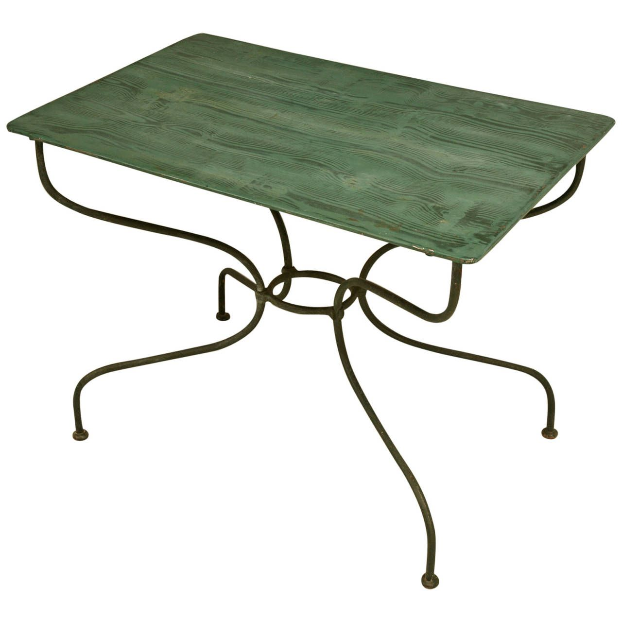 French Vintage Garden or Kitchen Metal Table | 1stdibs.com