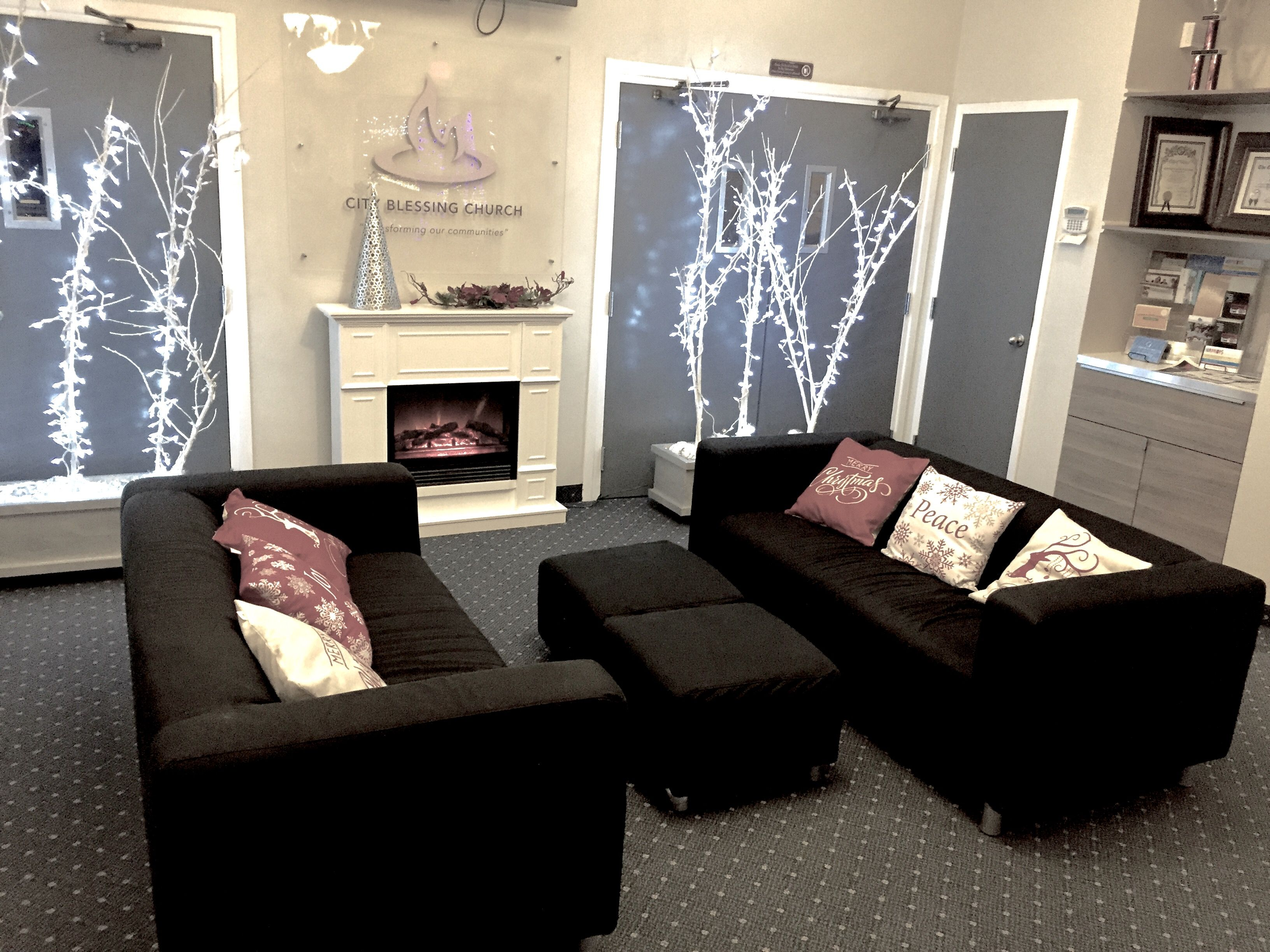 church foyer furniture. Church Foyer Transformed To A Cozy Seating With Electric Fireplace Furniture G
