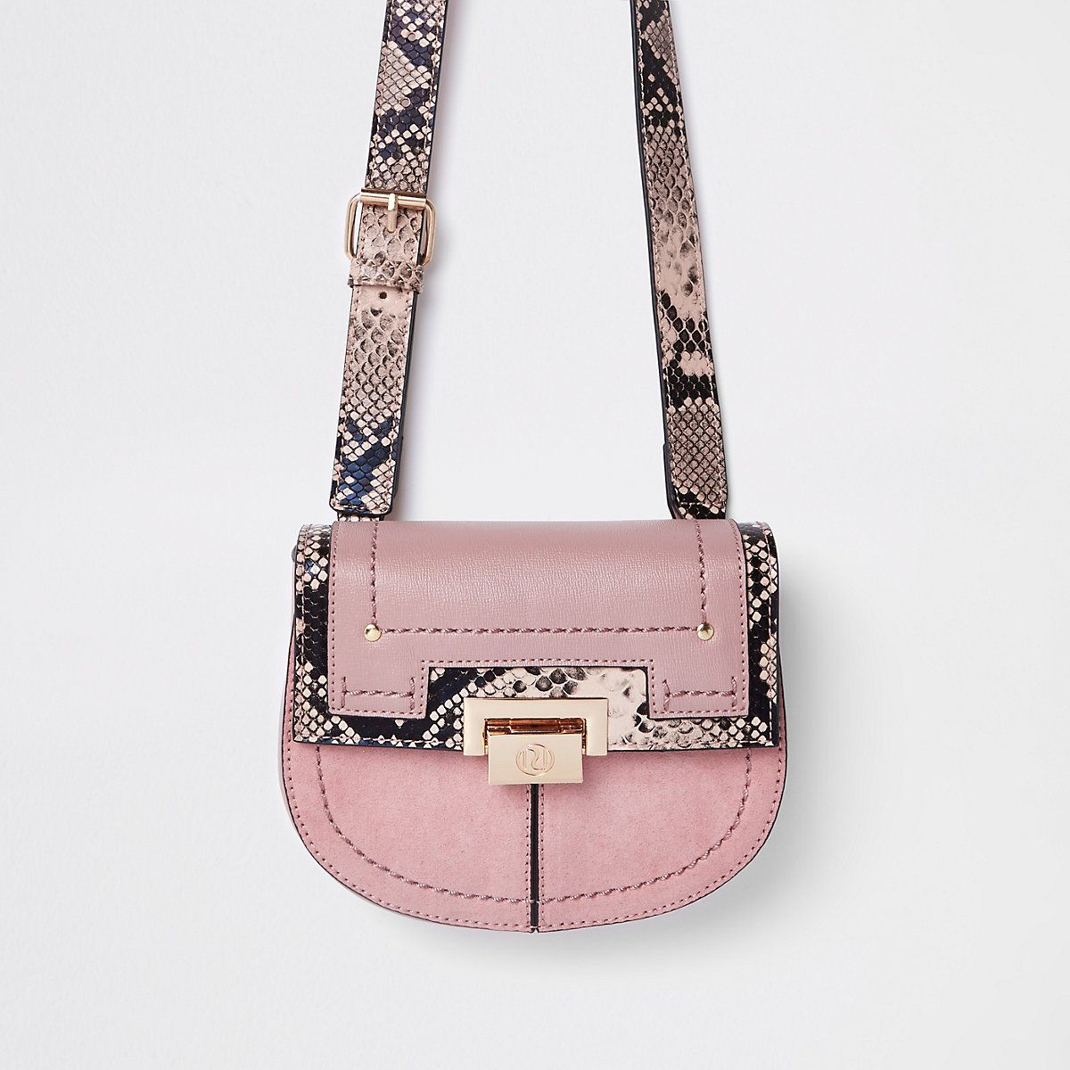 3dc8bf9466a6 Pink snake print lock front beltbag - Bumbags - Bags   Purses ...