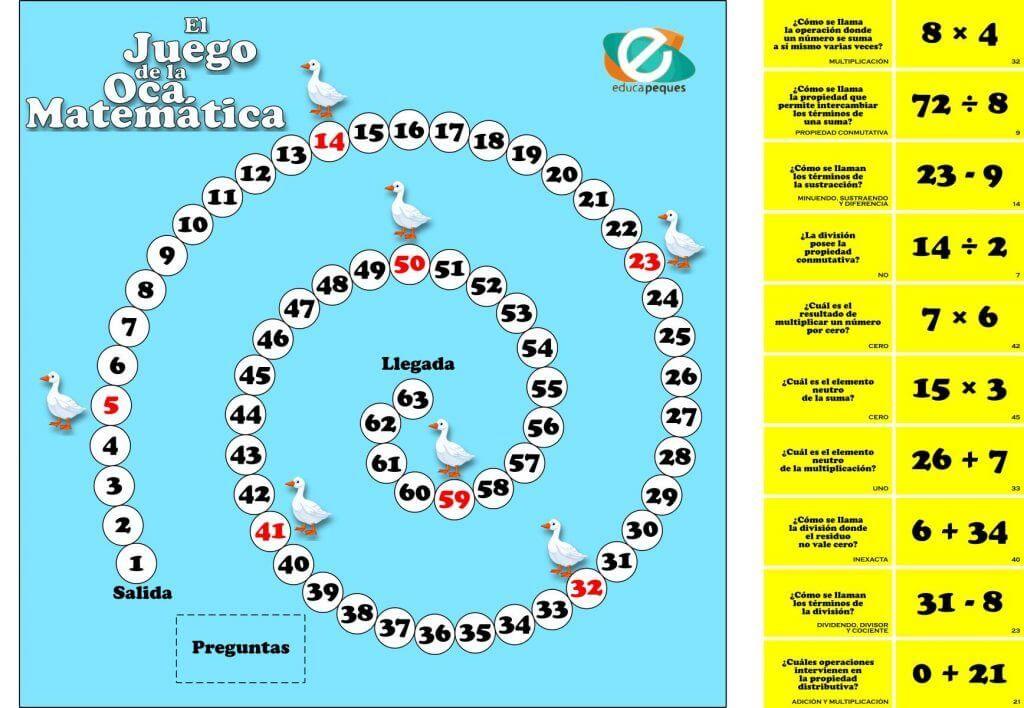 10 Tablero La Oca Matematica Juego Juegos Matematicos Para Ninos