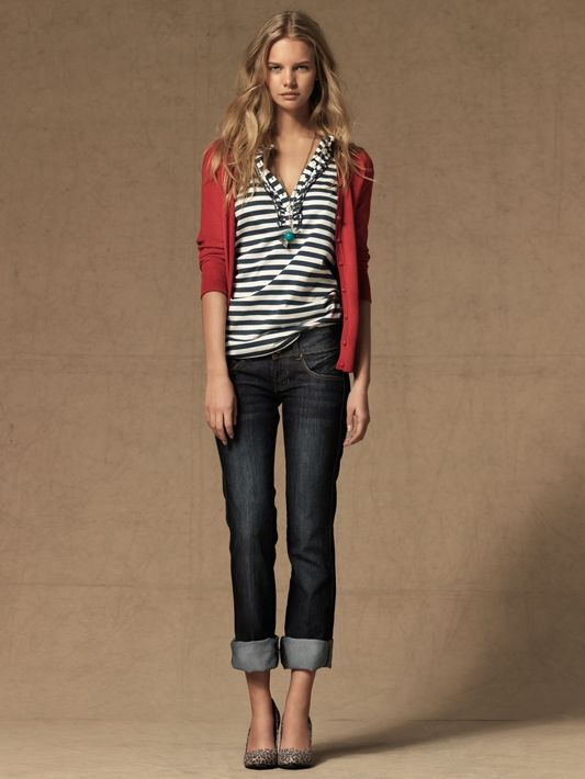 Red sweater, Black striped tee, Jeans - Casual Outfit