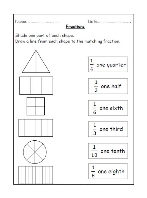 Free Fractions Shading And Matching Worksheet Fractions