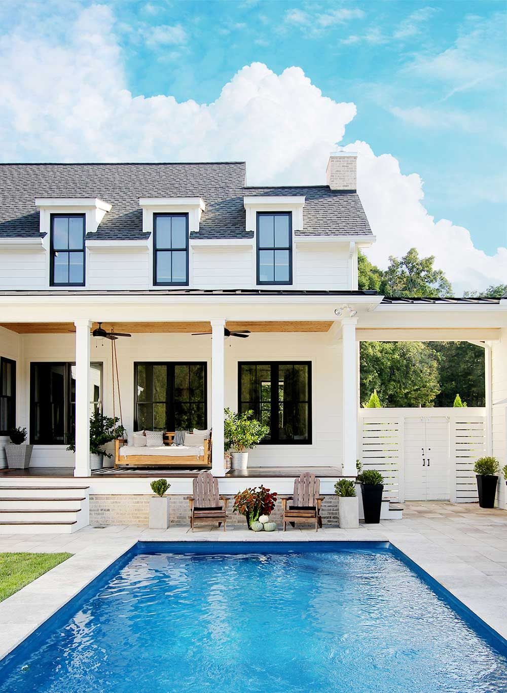 Detached Vs Attached Garage Plank And Pillow Pool House Plans Dream House Exterior Modern Farmhouse Exterior