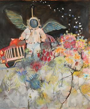 Anne Sofi Storm Østergaard (f. 1957). Komposition. 2016. Akryl/olie på lærred. Sign. Sofi Storm. 120 x 100 cm UR.