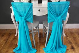 New Arrvail ! 40pcs Turquoise Chair Sashes for Wedding Event &Party Decoration Chair Sash Wedding Ideas Chiffon