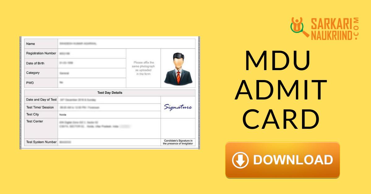 Mdu Admit Card 2020 Maharshi Dayanand University Admit Card 2020 Exam Time Student University