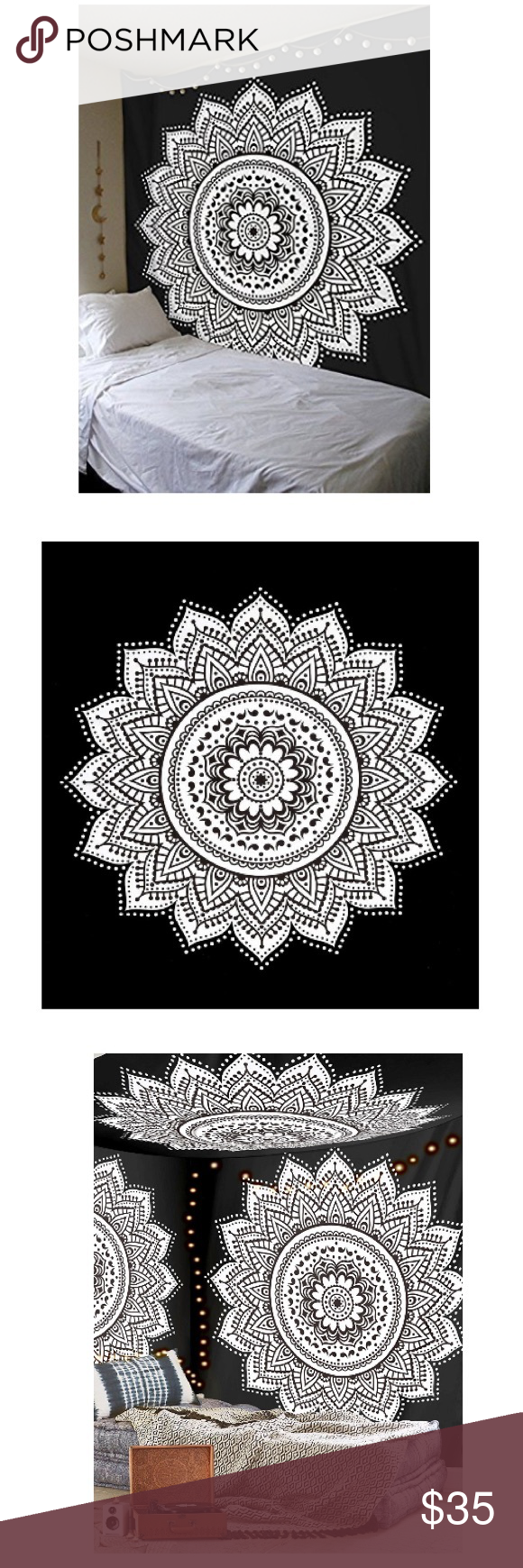 85 Stunning Bohemian Style Interior Design Ideas For Your: Black And White Star Bohemian Mandala Tapestry Beautiful
