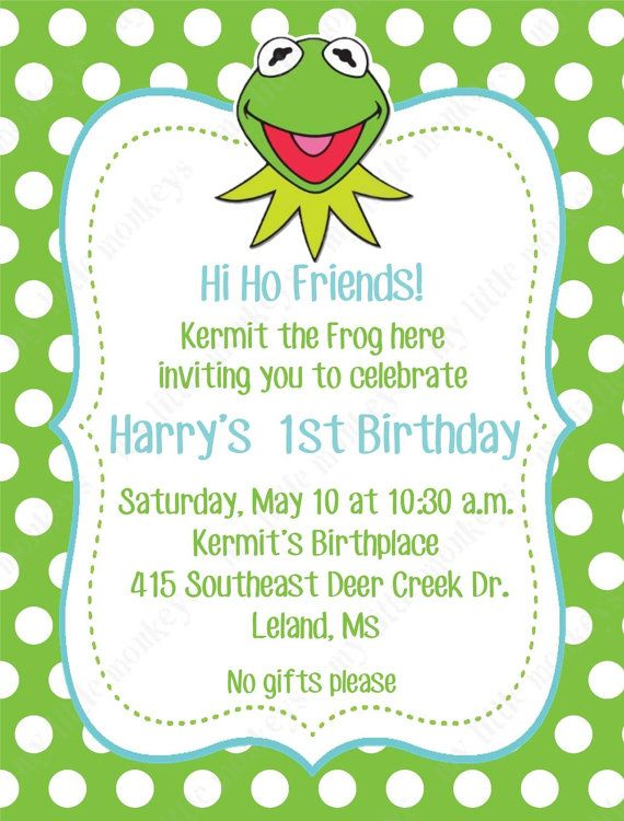 10 printed kermit the frog birthday invitations with envelopes free 10 printed kermit the frog birthday invitations by bethcloud723 filmwisefo Images