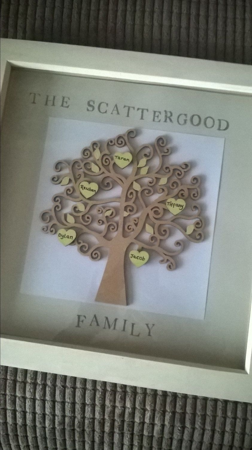 12 x 12 personalised hand painted Family tree box frame by ...