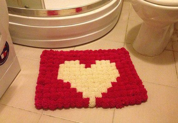Pink And White Heart Pom Poms Bath Mat Bathroom By Nesrinart
