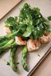 Birmingham Restaurants | Recipes - Chris Hastings - Grilled Jumbo Asparagus with Head-On Florida Hoppers (shrimp) and Preserved Lemon Vinaigrette