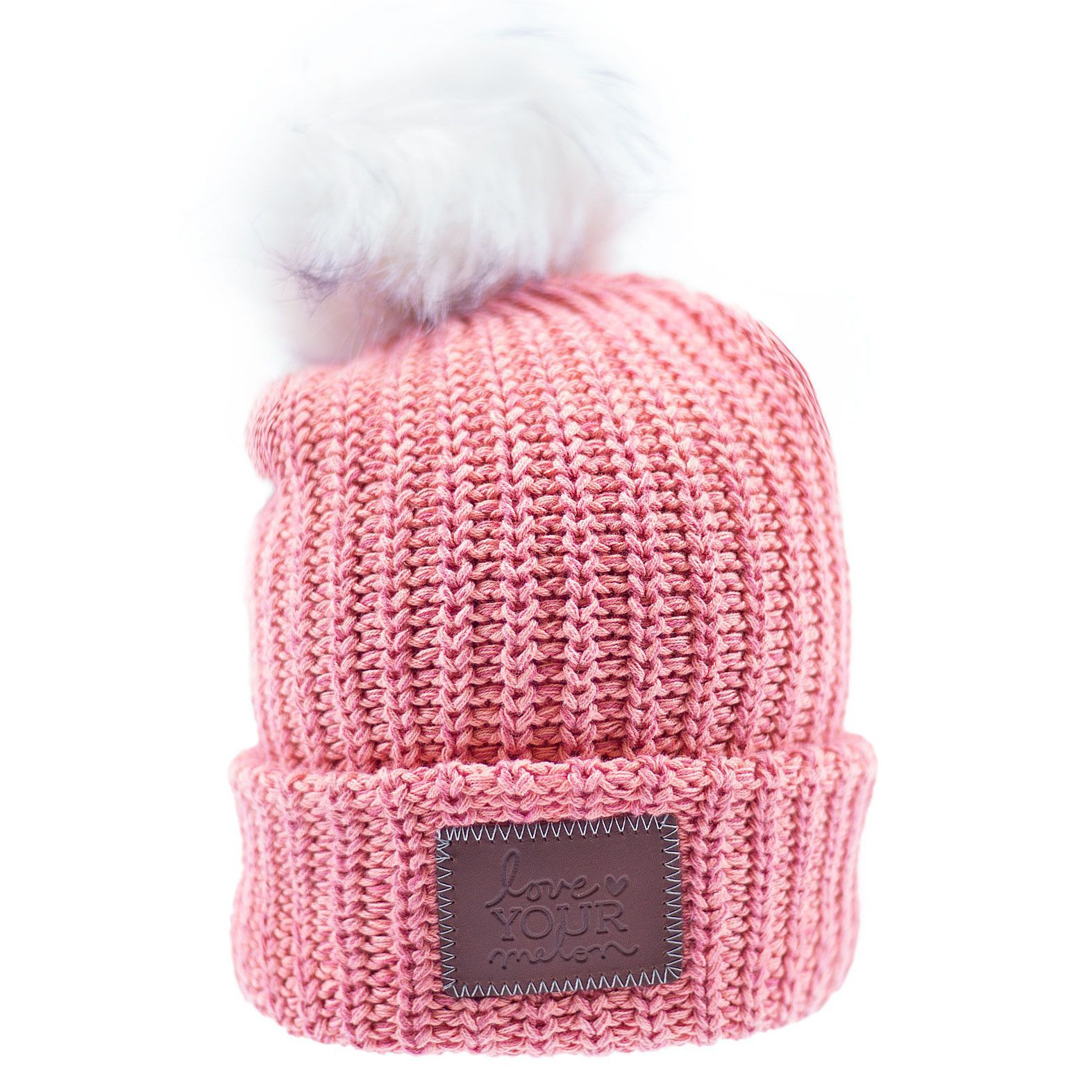 This pom beanie is knit out of 100% cotton yarn in pink and light pink  colors. It features a brown leather patch that is debossed with the Love  Your Melon ... 68829198ec99