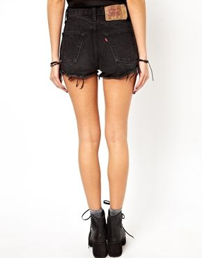 449efd021c6a52 ASOS Reclaimed Vintage Levi 501 Shorts in Black | short | Levis ...