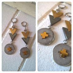 Boucles d'oreille acier, hématite et béton argent et or 01